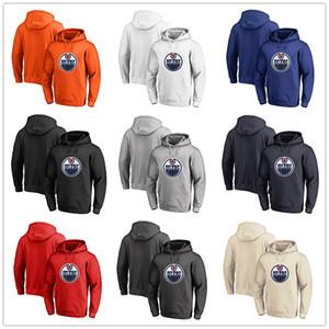Erkek Edmonton Oilers Fanatics Markalı Siyah Kül Beyaz Kırmızı Turuncu nakış Birincil Logo Kazak Hoodies uzun Kollu Açık Giyim Sti