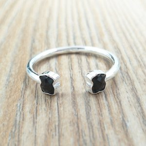 baar Schmuck 925 Sterling Silber Ringe Mini Onix geöffneter Ring in Silber mit Onyx europäischen Schmuck-Art-Geschenk c918455510 Passend