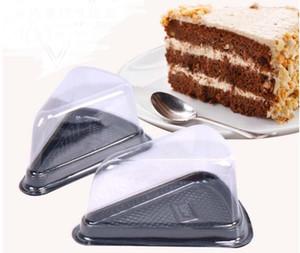 1000pcs desechables de plástico transparente triángulo de queso postre pastel de cajas de plástico captación Cake Box para pastelería panadería pantalla Cajas SN836