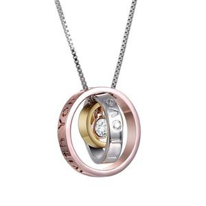 Hohe Qualität 3 farbe Ringe Schmuck Legierung Strass Mom Anhänger Halskette Brief Designer Neckalces Für Weibliche Frauen Mutter Tag Schmuck Geschenk