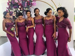2020 New Burgundy Black Girl Mermaid Bridesmaid Dresses Cheap Plus Size vestidos de dama de Honor Formal Maid Of Honor Dresses