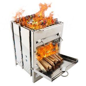 Al por mayor-inoxidable barbacoa Barbacoa Parrillas del quemador Partido carbón de barbacoa al aire libre Jardín Horno de cocción de picnic plegable con bolsa de almacenamiento C71