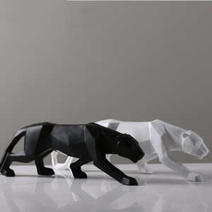 Leopard Statue Large Size Modern Abstract Geometric Style Resin Panther Sculpture Animal Figurine Home Office Decor Ornament