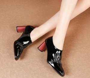Chunky heels in Europe spring and autumn single shoes black patent leather new look versatile free shipping
