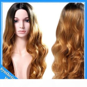 L Long Lace Front Synthetic Wigs Blonde Ombre Wig Dark Root 1b #27 #30 #Body Wave Wigs Brazilian Hair Synthetic Lace Front Wig Heat Res