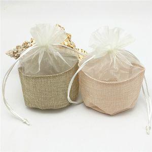 """Paquete de 30 Bolsas de embalaje de regalo de organza 5.5 """"x6.2"""" Fiesta Caramelo a favor Saco de lino Yute Cordón Bolsa Bolso a favor de la boda"""