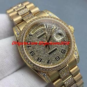 Neue Stil Luxusuhr 8 Stil Midssize 18 Karat Gelbgold Quickset Full Pave Diamonds Dial 36mm Automatische Mode Herrenuhren Armbanduhr