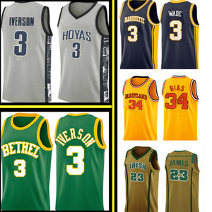 Alle Iverson 3 Dwyane Wade 3 Jersey Len 34 Bias Mens University High School Basketball Jerseys Stickerei Logos S-XXL