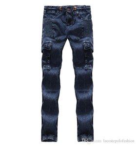 Blau mit gefaltetem Herrn Bleistift-Jeans Regular mittleren Taillen-Designer Herren Pants Cotton Tether Männlich Kleidung