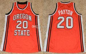 Oregon State Beavers Università Gary Payton # 20 universitario Retro Jersey di pallacanestro degli uomini di cucito su misura Qualsiasi Numero Nome maglie