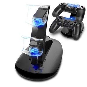 Controlador Charger Doca LED duplo PS4 USB Suporte de carga Station Cradle para Sony Playstation 4 PS4 / PS4 Pro / PS4 Magro controlador