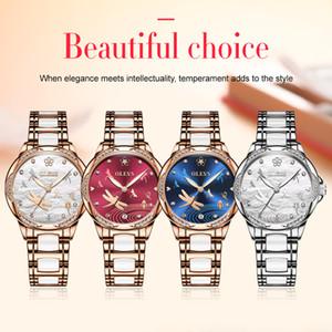 OLEVS lusso dell'orologio diamanti scintillanti dell'acciaio inossidabile delle donne di ceramica cinturino da polso meccanico Movimento luminosi Orologi Impermeabili