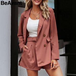 BeAvant 우아한 투피스 재킷 정장 캐주얼 스트리트 사무실 숙녀 설정 버튼 포켓 여성 반바지 정장 띠를 띠 재킷