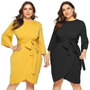 Plus Size Dresses For Women With Strapes Belt Solid Color Flare Sleeve Crew Neck Irregular Dresses Casual Autumn Winter Women