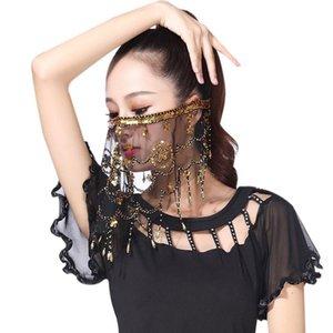 Les femmes de danse du ventre Tribal Veil face avec Halloween Costume d'accessoires avec Paillettes pour les femmes Vêtements de Danse