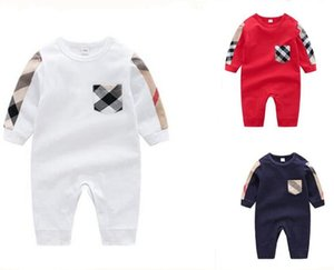 Новорожденный ребенок дизайнер этикетки комбинезон дети с длинным рукавом высокое качество baby boys девушки комбинезоны одежда верхняя одежда плед комбинезон младенец