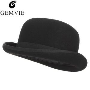 GEMVIE 4 tamanhos 100% lã de feltro preto Derby Bowler Hat para as Mulheres Homens forrado de cetim partido Moda Costume Fedora Formal Magician Cap LY191228