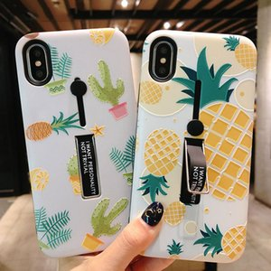 Hide Ring Stand Titulaire Cas Pour iPhone 7 8 6 6 s Plus Feuille D'ananas Marbre Téléphone Cas Pour iPhone X XS PC Retour Cove