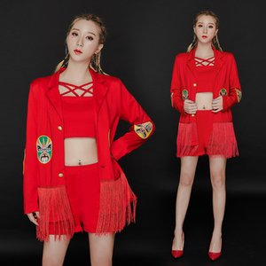 Feminino Birthday Party Sexy Discoteca Dj Costume Cantor roupa ternos Red Fringe 3pcs Set GOGO Pole Dance Ensemble Femme BI679