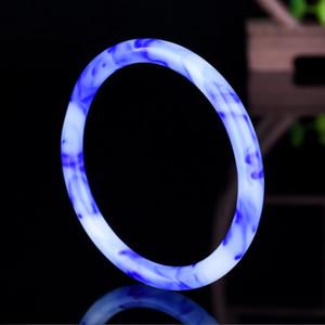 شينجيانغ هوتان الجميلة دائرة سوار اللون الطبيعي اليشم العائمة الزهرة الزرقاء سوار الذهب سوار اليشم