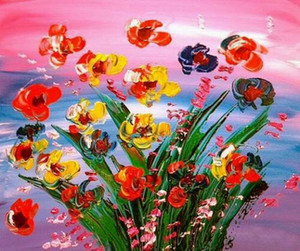 a113# KAZAV MODERN ABSTRACT FLOWERS Home Decor Handpainted & HD Print Oil Painting On Canvas Wall Art Canvas Pictures 200201