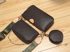 bolsos de diseño MULTI POCHETTE ACCESORIOS monedero de tres piezas bolsas de PU estilo L monederos del bolso mujeres del bolso M44823 A