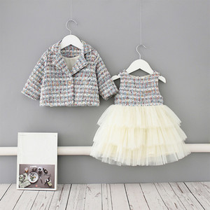 2020 Baby Spring Clothing Infant Kids Baby Girls Pageant Coat + Tutu Dress Party Outfit Fashion Elagent Clothes Sets 1-5Y T200707