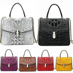 Brand Lady Large-Capacity Shopping Bag Van Gogh Oil Painting Wheat Field Geometric Women Luxury Designer Crocodile Shoulder Bag Bag Cross#218