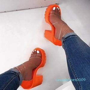 HEFLASHOR Frauen-transparenter Sandelholz-Absatz Slippers Süßigkeit-Farben-Öffnen-Zeh-starke Ferse Weibliche Slides Sommer-Schuhe Sandalen c09