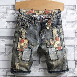 Brand New Fashion Sommermens Holes Denim Shorts Mode Herren Denim Jeans dünne gerade Jeans Trend Herren Designer-Hosen 28-40