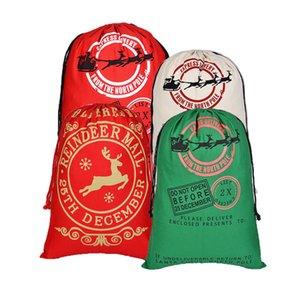 2020 Canvas Natal saco de cordão com cordão saco das renas de Santa Sack Sacos Atuais cordão Bolsa Xmas sacos Detalhes