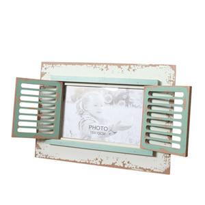6-Zoll-Fenster Kreative Bilderrahmen American Country Vintage Photo Frame Kreative Holzhandgefertigte Geschenke Desktop-Dekoration