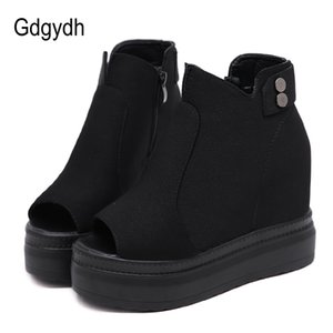 Gdgydh New Arrival Peep Toe Women's Shoes Wedge Heels Suede Ankle Boots Booties Platform Ladies Casual Shoes Promotion Sale