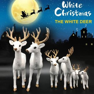 SOLEDI 2 Size Simulated Simulation White Deer Standing Christmas Decorations Display Window Christmas White Reindeer Office