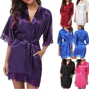 Las mujeres del cordón atractivo del camisón de la ropa de noche de la ropa interior de raso noche mini vestido sólido del vestido de cuello en V camisón del camisón del traje Nuisette