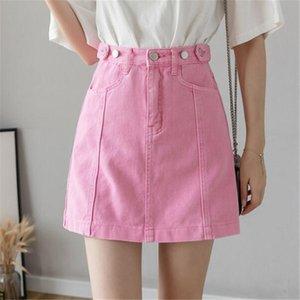 2020 Nova Rosa Roxo Denim saia curta elegância simples doce cor sólida de saia curta Mulheres saias de cintura alta One Step Skirt