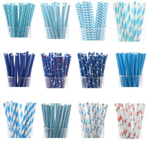 25pcs lot Blue Paper Drinking Straws Favor For Wedding Decoration Anniversary Day paper straw drinking Birthday supplies