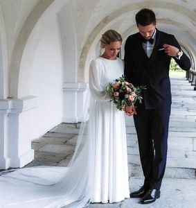 2019 Branco Cheap A linha de Praia Bohemian vestido de casamento Jewl elegante Neck Poeta mangas compridas Boho Plus Size Vestido de Noiva