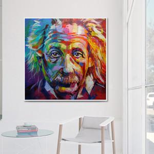 Albert Einstein pintura a óleo sobre tela Retrato Wall Art Pictures para sala de estar Quarto Estudo Modern Decoração 191006