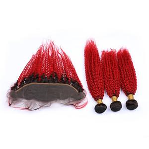Noir Red Ombre Kinky Curly indiens vierges de cheveux humains Weave Bundles avec Frontal # 1B / Ombre Rouge 13x4 Dentelle Frontal Fermeture avec Tissages