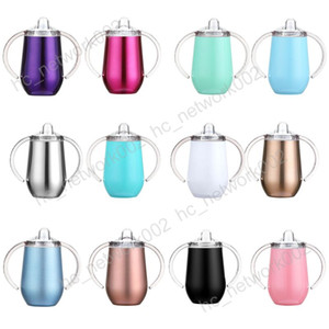 Fedex sippy rostfreier Schale 10 Unzen 12 Farben Babyflasche Optionen Stahlbecher mit Doppelgriff keinen Spill mit Nippeln und Deckel