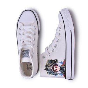 2020 new fashion designer men and women couples hand-painted canvas shoes white shoes WXY-A930WJ