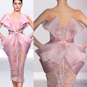 Rosa Lace Elegante 2020 Africano Vestidos sem alças Bainha Prom vestidos na altura do joelho Sexy formal do partido Pageant dama de honra Vestidos