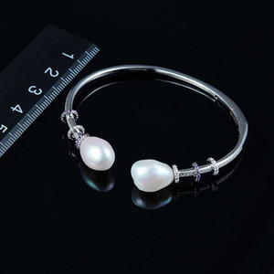 Super Charming Women Jewelry Silver CZ Pearl Bracelets Bangles for Girls Women for Party Wedding Nice Gift