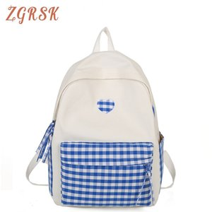 Women Plaid Canvas Backpack Bagpack Teenage Girl School Backpacks Female Cute Fashion Back Pack Student Casual Bookbags