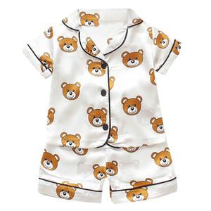Pyjamas Set für Kinder Sommer 2019 Jungen-Mädchen-Kinder nach Hause Kleidung Cartoon kurze Hülsen-Baby Sleepwear-Klage Kinder Tagsgeschenke