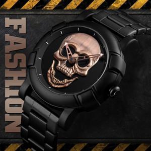 Men's Skull Quartz Watch Stainless Steel Male Waterproof Watch Military Relogio Masculino