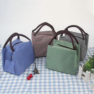 8styles Gestreifte Lunch Bag Protable Thermal Insulated Campus Lebensmittel-Beutel-Beutel-Taschen-Wasserdichtes Picknick-Aufbewahrungsbehälter Container GGA3241-2