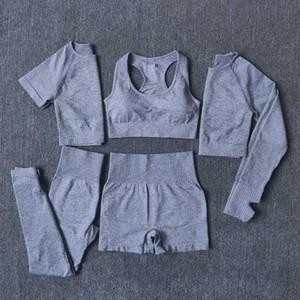 5pcs definido Mulheres Workout Seamless Yoga Set Academia de manga curta longa Top Curto camiseta Funcionamento Gym Leggings shorts de ginástica roupa