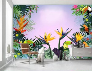 3d wallpaper custom photo mural Modern natural plant flowers and birds 3D TV background home decor 3d wall murals wallpaper for living room